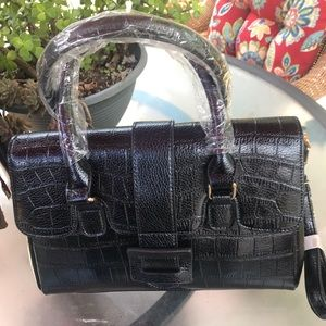 Alligator Satchel bag Pu Leather Crossbody Black